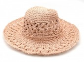 Q-C3.2 HAT211-001 Woven Hat 37cm with Adjustable Head Size Pink