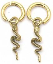 B-B20.2 E2011-008G S. Steel 10mm Earring with 18mm Snake Gold