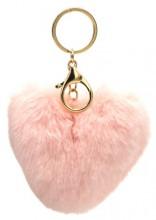 X-J1.2  KY414-003A Fluffy Bag-Keychain 10cm Heart Pink