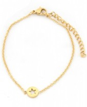 A-B18.3  B1842-002 Stainless Steel Bracelet on Giftcard with Star Gold