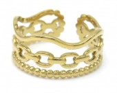 E-B8.2 R110215G S. Steel Ring Chain Adjustable Gold