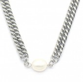 C-B20.2 N220-053S S. Steel Necklace with Freshwater Pearl Silver