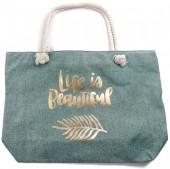 Y-C6.4 BAG530-005B Large Beach Bag Life is Beautiful Green