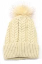 T-B6.2 HAT003-003H Hat with Fake Fur Bordeaux Beige