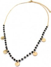 C-D21.3 N426-012G Necklace Coins with Facet Glass Beads Gold
