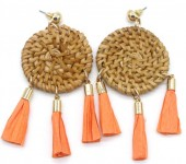 E-E15.1 E538-005 Rattan Statement Earrings 8x4cm