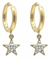 C-A3.3  E1934-003G Stainless Steel 15mm Earrings with 10mm Star Gold