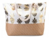 Y-A2.3  BAG217-003 Beach Bag with Wicker and Metallic Pineapple Print 54x40cm White-Gold