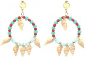 G-A8.1 E536-114B Earrings Shells 6x4cm Red-Blue