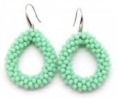 B-D11.2 E007-001 Facet Glass Beads 4.5x3.5cm Green