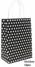 Q-P8.2 PK525-006B Paper Giftbag Dots 21x15cm Black-White 12pcs