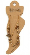 E-B22.3 ANK221-017 Anklet with Stones Brown
