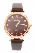 B-F20.4 W203-007 Quartz Watch with Pu Strap 30mm Brown