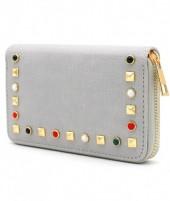 WA214-003 PU Wallet with Studs Grey