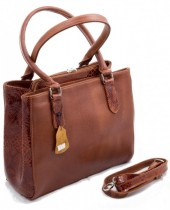 Q-H1.2 BAGE-911  Luxury Leather Bag 35x26cm Cognac