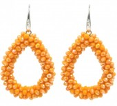 E-D15.3  E007-001C Facet Glass Beads 4.5x3.5cm Orange