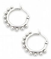 E-A5.1 E1264-004S Stainless Steel Earrings with Dots 15mm Silver