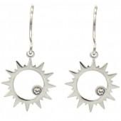 B-C19.1 E2004-002 S. Steel Earrings Sun 14mm Silver