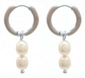 D-B18.4 E2142-028S S. Steel Earrings Freshwater Pearls 1x2.5cm