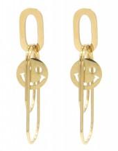 D-C19.5 E2126-003G S. Steel Earrings Smiley 4.5x1.5cm Gold