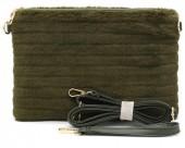 R-B8.2  BAG190-006 Soft Fake Fur Clutch-Bag Green 30x17x4 cm
