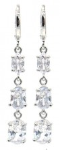 B-B9.3 E516-005 Earrings 1x4cm with Cubic Zirconia Silver