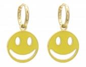 D-E20.1 E221-241C S. Steel Earrings Smiley 1x2.3cm Gold-Yellow