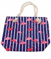 BAG217-002 Striped Beach Bag with Flamingos 43x34cm Blue