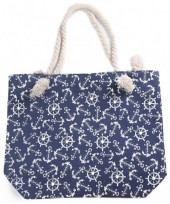 Y-E1.3  BAG217-002 Beach Bag Rudders and Anchors 43x34cm Blue
