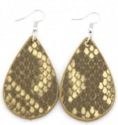 C-C15.1 E220-011 PU Snakeskin Earrings 6x3cm Yellow