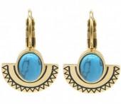 B-F6.3 E2004-007G S. Steel Earrings 15mm Aztek Charm and Stone Gold