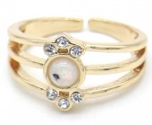 F-E9.2  R532-012G Adjustable Ring with Crystals Gold