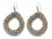 B-F16.3 E007-001 Facet Glass Beads 4.5x3.5cm Grey-Multi