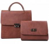 Y-F2.1 BAG419-003B PU Bag Set 2pcs 25x23x10cm Brown