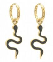 C-E19.1 E221-215G S. Steel Earrings Snake 1x3cm Black-Gold