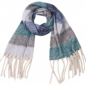 Z-B1.3 SCARF405-059A Soft Striped Winter Scarf Grey-Blue-Multi