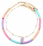E-F17.1 N536-096A Necklace Set 2pcs  with Shell Multi Color