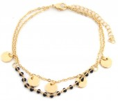 E-A5.1 B426-002 Bracelet with Black Beads and Coins Gold