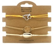 A-A21.1 B538-004 Bracelet Set 3pcs with Shell and Heart
