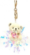 S-D7.4 KY2035-004B Keychain Bear with Glitters 8cm Beige