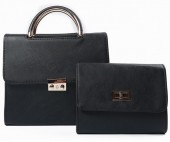 Y-C6.5 BAG419-003A PU Bag Set 2pcs  25x23x10cm Black
