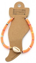D-A16.1 ANK1925-009 Anklet with Surf Beads and Shell Orange