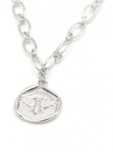 F-E21.1 N304-039 Metal Necklace Bee Charm 1.5cm Silver