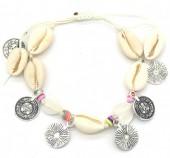 E-C21.1 B536-005 Rope Bracelet Shells and Coins