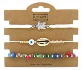 E-B6.4 B2001-055A Bracelet Set 3pcs Shell-Stones-Turtle White