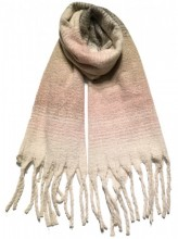 Y-E1.3 S108-001 Thick Scarf with Fringes 50x180cm Beige Multi
