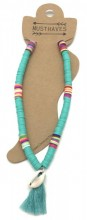 C-A18.4 ANK412-001F Anklet with Surf Beads - Tassel -Shell Blue
