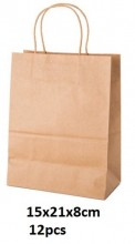 Y-B5.5 Brown Paper Bag 15x21x8cm 12pcs