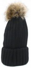 R-M8.1 HAT113-001 Beanie with Fake Fur Pompon Black
