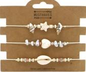 F-B16.3 B2001-048B Bracelet Set 3pcs Stones and Shells Brown